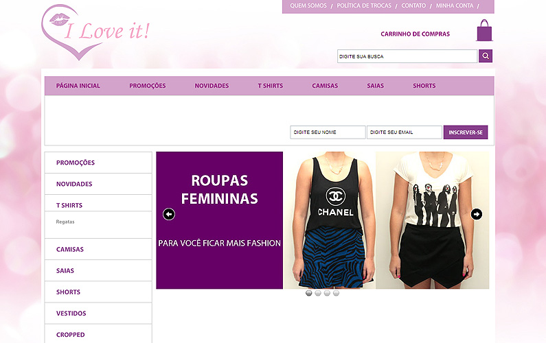 Criação para site de e-commerce: I Love It